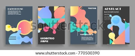 Covers templates set with graphic geometric elements. Applicable for brochures, posters, covers and banners. Vector illustrations. - Shutterstock ID 770500390