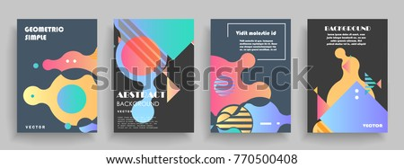 Covers templates set with graphic geometric elements. Applicable for brochures, posters, covers and banners. Vector illustrations. - Shutterstock ID 770500408