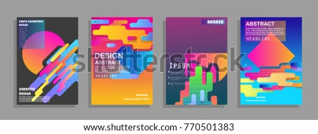 Covers templates set with graphic geometric elements. Applicable for brochures, posters, covers and banners. Vector illustrations. #770501383