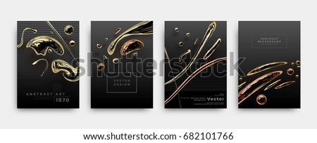 Covers templates set with liquid golden shapes. Flowing bronze bubbles for posters, placards, presentations, banners and flyers. Vector illustrations. - Shutterstock ID 682101766