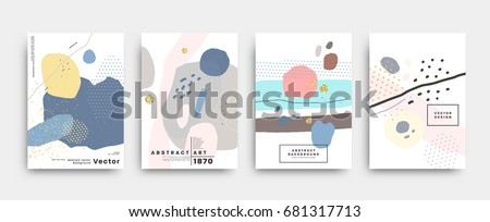 Covers templates set with trendy geometric patterns, colors and memphis retro elements. Modern design for placards, posters, presentations and banners. Vector illustrations.