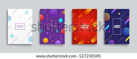 Covers with Flat & Dynamic Design. Geometric shapes in motion. Applicable for Banners, Placards, Posters, Flyers and Banner Designs. Eps10 vector illustration.