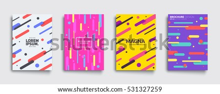 Covers with flat geometric pattern. Cool colorful backgrounds. Applicable for Banners, Placards, Posters, Flyers. Eps10 vector template. - Shutterstock ID 531327259