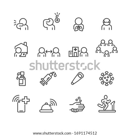 Covid-19 and Protect icons set ,Vector
