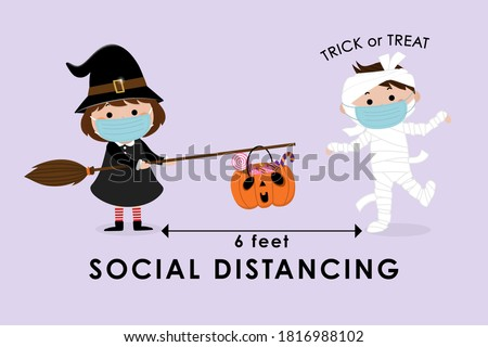 COVID-19 and social distancing infographic with cute Halloween cartoon character. Kids in witch costume with the basket and mummy with surgical mask. Corona virus protection. Trick or treat. -Vector