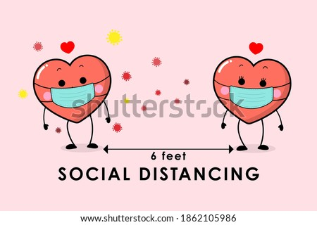 COVID-19 and social distancing infographic with cute love sign character. Red hearts cartoon with surgical mask in flat style. Corona virus protection. Happy Valentine's Day greeting card. -Vector