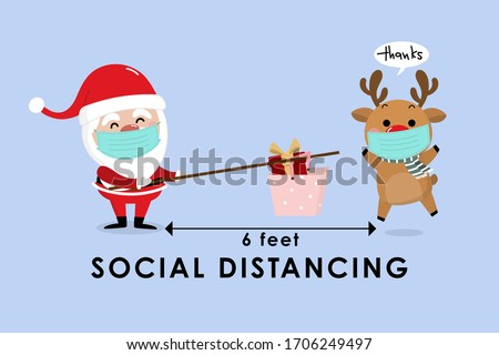 COVID-19 and social distancing with cute Christmas cartoon character. Santa Claus with a gift in the basket and reindeer with surgical mask in flat style. Corona virus protection. -Vector