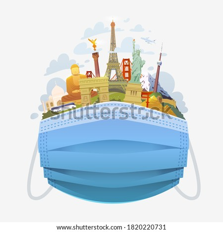 Covid-19 and travel industry. Travel to World. Road trip. Tourism. Medical mask with landmarks. Travelling illustration. Modern flat design.