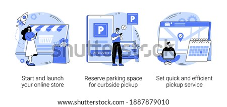Covid19 business abstract concept vector illustration set. Start and launch your online store, reserve parking space, curbside pickup, set pickup service, employee safety abstract metaphor.