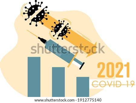 Covid-19 cases reduction chart. End of pandemic. Covid-19 vaccine.  Foto stock ©