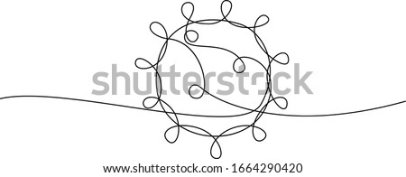 COVID-19 continuous line symbol. Concept Coronavirus, virus silhouette, corona virus inscription one single line on a white background, line drawing, vector illustration.