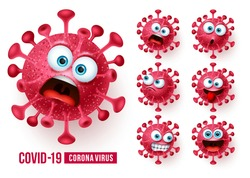 Covid19 corona virus emojis vector set. Covid-19 coronavirus emojis and emoticons with scary and angry facial expressions in white background. Vector illustration.