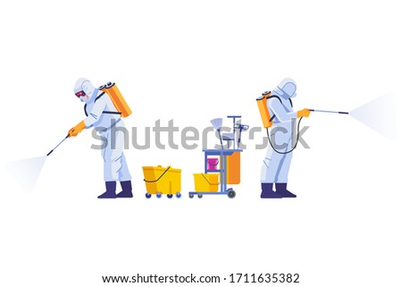 COVID-19 Coronavirus disinfect. Disinfecting workers wear protective masks and spacesuits against pandemic coronavirus or covid-19 sprays. Cartoon style vector illustration isolated background.