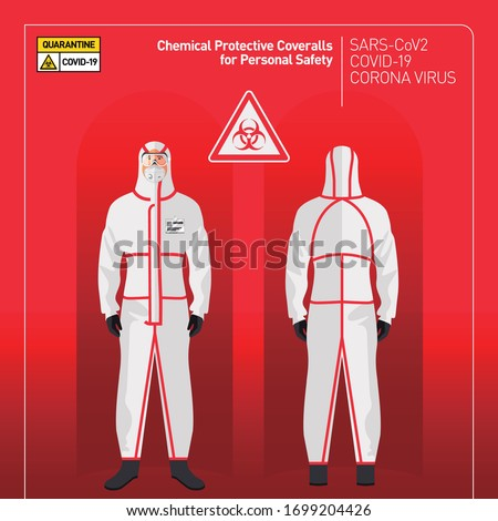 Covid-19 Coronavirus. Doctor in Chemical Protective Coveralls for Personal Safety. quarantine from pandemic covid-19 outbreak. isolated vector illustration. Biological risk Stock photo ©