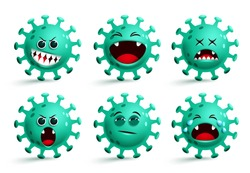 Covid-19 coronavirus emoji vector set. Coronavirus covid19 emoticon and emojis with happy and surprise facial expressions isolated in white background. Vector illustration.