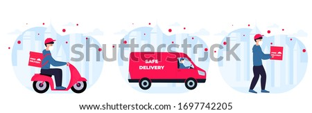 COVID-19. Coronavirus epidemic. Delivery service. Courier in protective masks deliver goods and food on a car, motorcycle to people in quarantine. Stay home concept