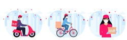 COVID-19. Coronavirus epidemic. Delivery service. Couriers in protective masks on a bicycle, motorcycle deliver goods and food to people in quarantine. Stay home concept.