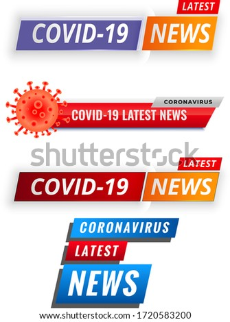 Covid19 coronavirus latest news and updates red banner Vector. Covid-19 latest news background Premium Vector. Covid-19 latest news banner for press. Covid19 coronavirus updates and latest news banner
