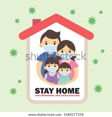 Covid-19 coronavirus quarantine campaign flat design. Cartoon family wearing medical face mask stay at  home vector illustration. Stop coronavirus, keep calm & stay safe! Movement control.