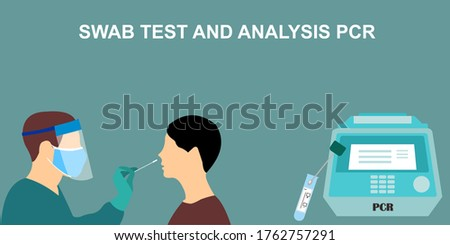 Covid-19 Coronavirus swab test and Coronavirus analysis using PCR or Polymerase Chain reactions, conducted by medical professionals, workers, doctors, or nurses.