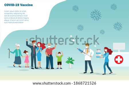Covid-19 coronavirus vaccination for pepple all aged. Doctor injecting covid-19 vaccine to happy  big family, elderly, young man and kids at hospital. World hope for covid-19 vaccine concept.