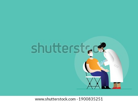 COVID-19 coronavirus vaccination international campaign. Vaccine treatment against covid. Woman doctor holding a syringe vaccinating a young man patient. Flat vector illustration. Vaccine inoculation.