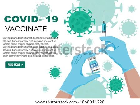 Covid-19 coronavirus vaccine bottle and syringe injection. Treatment injection for coronavirus covid-19. Landing page template. Isolated vector illustration