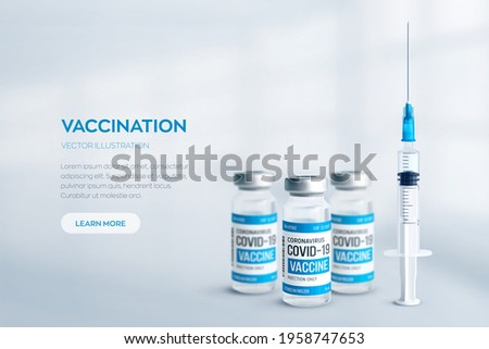 Covid-19 coronavirus vaccine concept. Realistic medical glass vials with metal caps and syringe vector background with copyspace. Vaccination against 2019-nCoV virus. Covid19 immunization treatment.