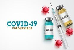 Covid-19 coronavirus vaccine treatment vector background. Covid19 vaccine bottle, syringe injection tool and coronavirus text in white background for corona virus immunization. Vector illustration.