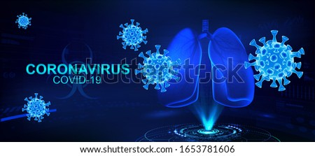 COVID-2019 (coronavirus) with human lugs hologram on a blue futuristic background. Deadly type of virus causes the severe illness SARS (Severe Acute Respiratory Syndrome). 3D Coronavirus bacteria.
