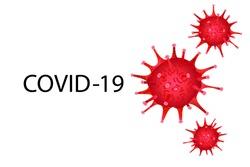 Covid 19, covid-19, corona virus pandemic global warning, red coronavirus symbol and icon vector  illustration