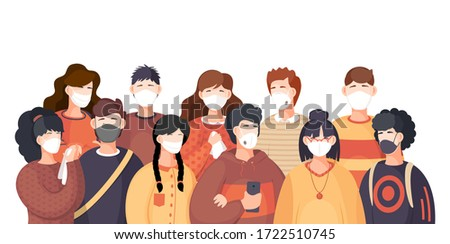 Covid-19, crowd of people in respiratory medical mask. Coronavirus epidemic in USA. Spreading virus in air. Coronavirus spreading. Girl and guy in center of epidemy. Protected with immune system