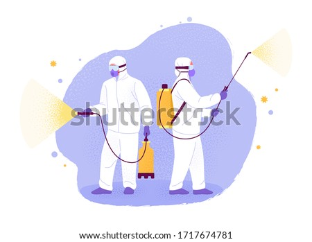 Covid-19 disinfection. Vector illustration of two men in white hazmat suits cleaning and disinfecting coronavirus. Isolated on abstract background