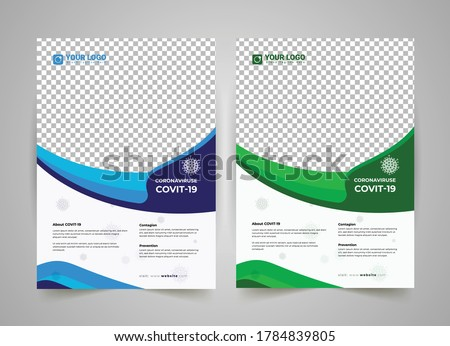 COVID-19 flyer template design, virtual conference flyer, Medical Flyer Template, medical brochure, annual report, flyer design templates in A4 size, Medical product sale or coronavirus COVID-19,  EPS