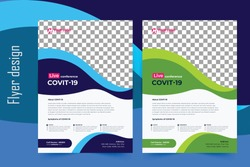 COVID-19 flyer template, Flyer, COVID 19 virtual conference flyer template design, Medical product sale, coronations, infographic, modern layout, size A4, Magazine, Poster, Corporate Presentation, EPS