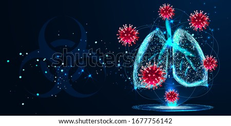 COVID-2019. Hologram of coronavirus on a blue futuristic background. Deadly type of virus 2019-nCoV. 3D models.. Respiratory system. Low poly wireframe style. Vector