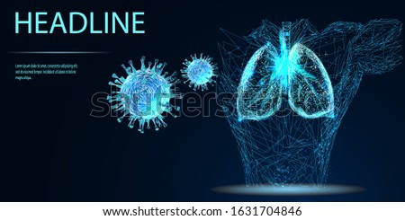 Covid-19. Human lungs. Sars disease, coronaviruses in the lung. The coronavirus causes the severe illness SARS . Low poly wireframe style. Vector