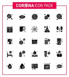 Covid-19 icon set for infographic 25 Solid Glyph pack such as surgery; light; germs; support; medical viral coronavirus 2019-nov disease Vector Design Elements