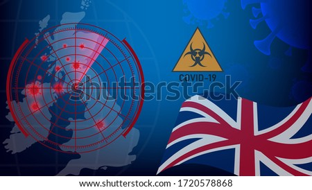 COVID-19 In United Kingdom. Coronavirus In UK. Map of coronavirus pandemic in UK. Image of Flu COVID-19 coronavirus and UK flag. Pandemic medical health risk concept. Coronavirus control in UK.
