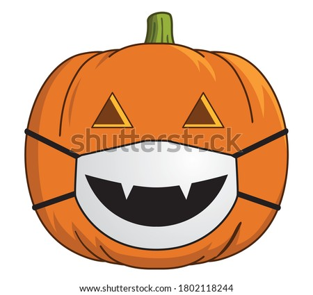 COVID Jack-O-Lantern with Face Mask | Masked Pumpkin | 2020 Halloween Design | Coronavirus, Vector Art