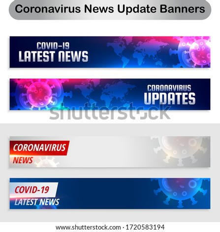 Covid-19 latest news banner for press. Covid19 coronavirus updates and latest news banner set Vector. Covid19 coronavirus latest news and updates red banner Vector. Covid-19 latest news background Pre