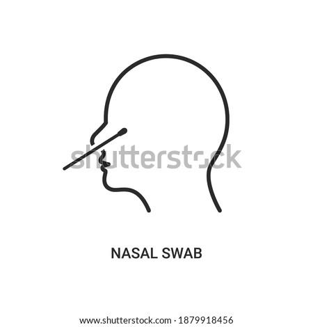 Covid nasal swab icon. Corona virus nasal pcr swab test line icon Stock photo ©