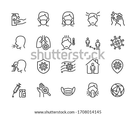 Covid-19 or Coronavirus pandemic related simple thin line icon set. Contains Protective Measures and  2019nCOV Symptoms icons. Pixel perfect at 64x64 - Editable stroke Foto stock ©