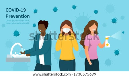 Covid-19 or coronavirus prevention protocols concept with diverse people washing hands, wearing a surgical face mask and spraying sanitiser with copy space for text, colored vector illustration Foto stock ©