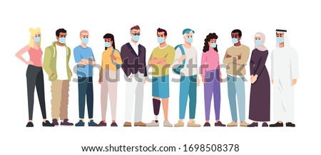 Covid19 pandemic semi flat RGB color vector illustration. Multi Ethnic people group in surgical masks isolated cartoon character on white background. Worldwide coronavirus spread. Personal protection