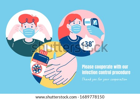 COVID-19 precaution promo, preventing the disease by wearing masks, regularly taking body temperature, and using hand sanitizer