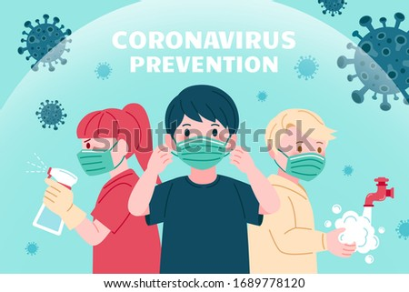 COVID-19 prevention promo design, with precautions of wearing protective face masks, washing hands and using disinfectant Stock photo ©