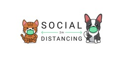 Covid-19 protection concept cartoon character cat and dog wearing protective face mask social distancing for design.