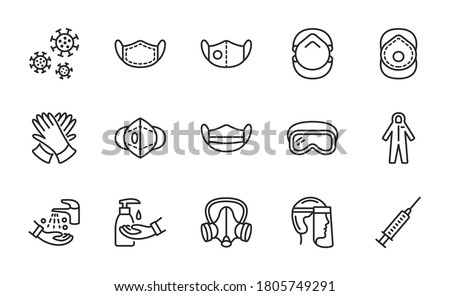 Covid-19 protection equipment and clothing line icon. Various types of protective masks and respirators and gloves,goggles, medical suit, face shield. Editable strokes