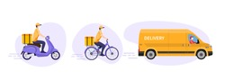 COVID-19. Quarantine in the city. Online delivery service concept, online order tracking, delivery home and office. Warehouse, truck, scooter and bicycle courier, delivery man in respiratory mask.